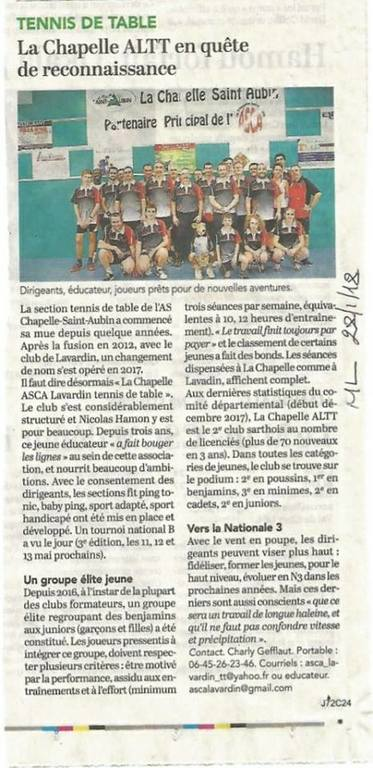 Article Ouest France du 22/01/18